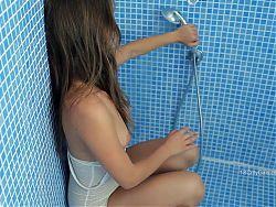 super cute teen in shower
