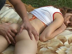 Beata gets fingered in the forest (and in the ass)
