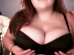 Horny Fat BBW GF playing with her big tits on cam